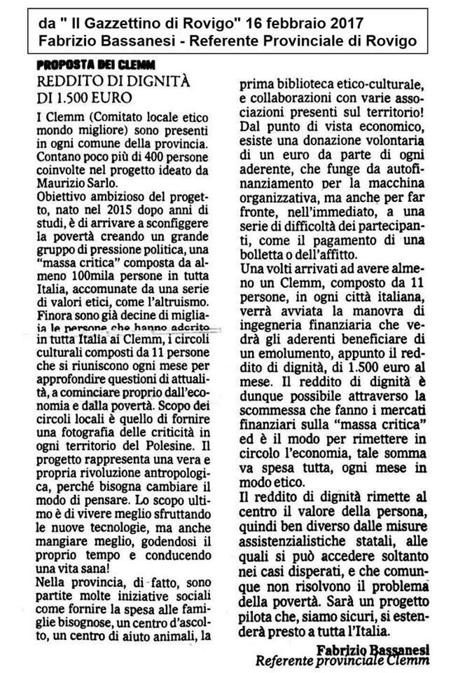 Dal Gazzettino di Rovigo 16 febbraio 2017