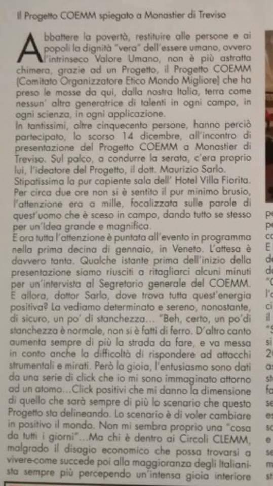 Il Progetto COEMM spiegato a Monastier di Treviso – Articolo dicembre 2016.