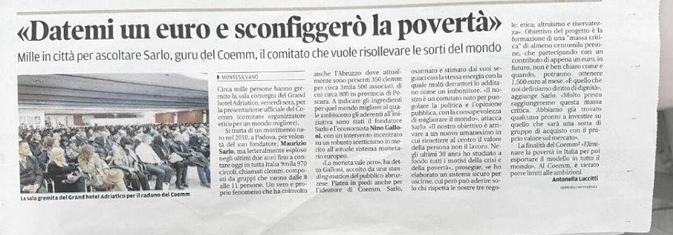 , «Datemi un euro e sconfiggerò la povertà», COEMM, COEMM