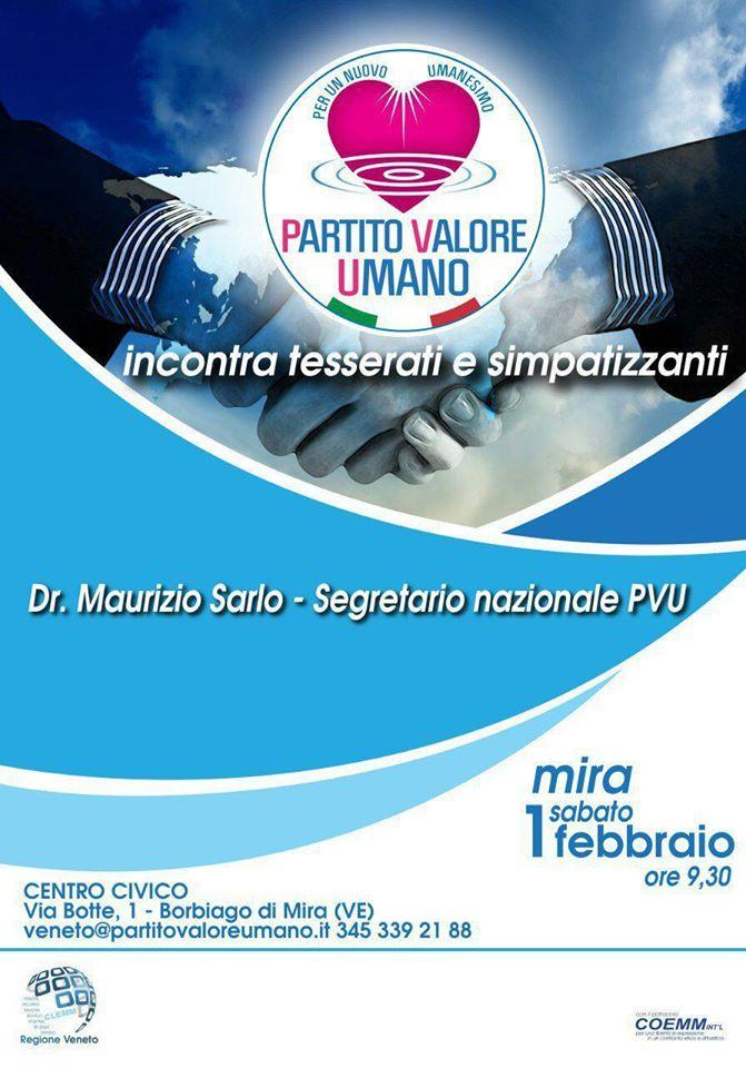 Ai Delegati PVU (DC e SP Regionali – Provinciali e Comunali ) di tutta ITALIA, si chiede di verificare la loro disponibilità a sintonizzarsi allo StreamingWeb che il PVU produrrà nella mattinata di SABATO 1 FEBBRAIO, dalle ore 9:30 alle ore 13:00.
