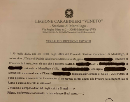 , Oggi inizia.. 31 luglio 2020! Il mio primo Esposto Epocale è stato depositato ieri presso la Caserma dei Carabinieri a me più congeniale., COEMM, COEMM