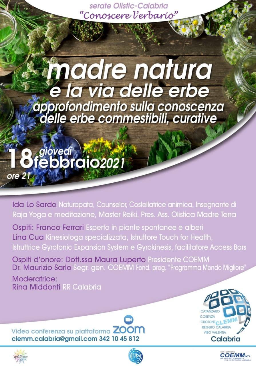 """, 🌐 Serate Olistic-Calabria 🌐 __""""Conoscere l'erbario"""" Madre Natura e la via delle erbe Approfondimento sulla conoscenza dele erbe commestibili, curative., COEMM"""