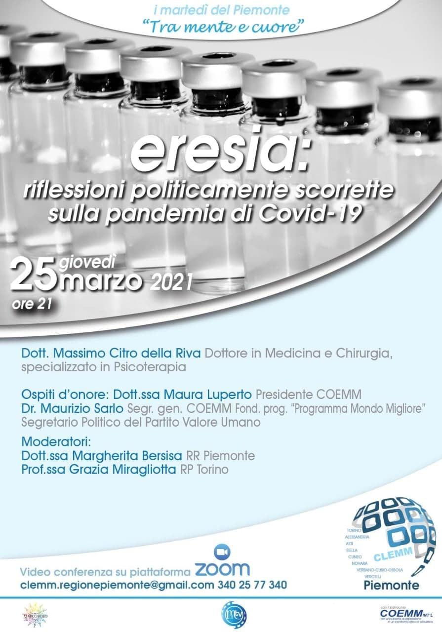 """""""ERESIA: riflessioni politicamente scorrette sulla pandemia di COVID-19"""""""