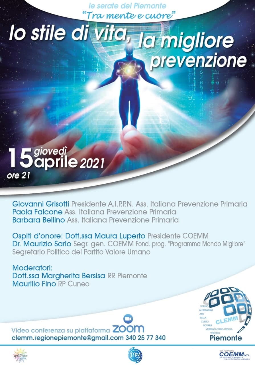 """🌐 Le serate del Piemonte 🌐 💞 """"Tra mente e cuore"""" Lo stile di vita, la migliore prevenzione."""