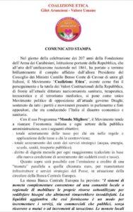 , Maurizio Sarlo .Comunicato CE La Coalizione Etica (CE) lancia un comunicato per salutare un anniversario che fa onore agli Italiani, COEMM