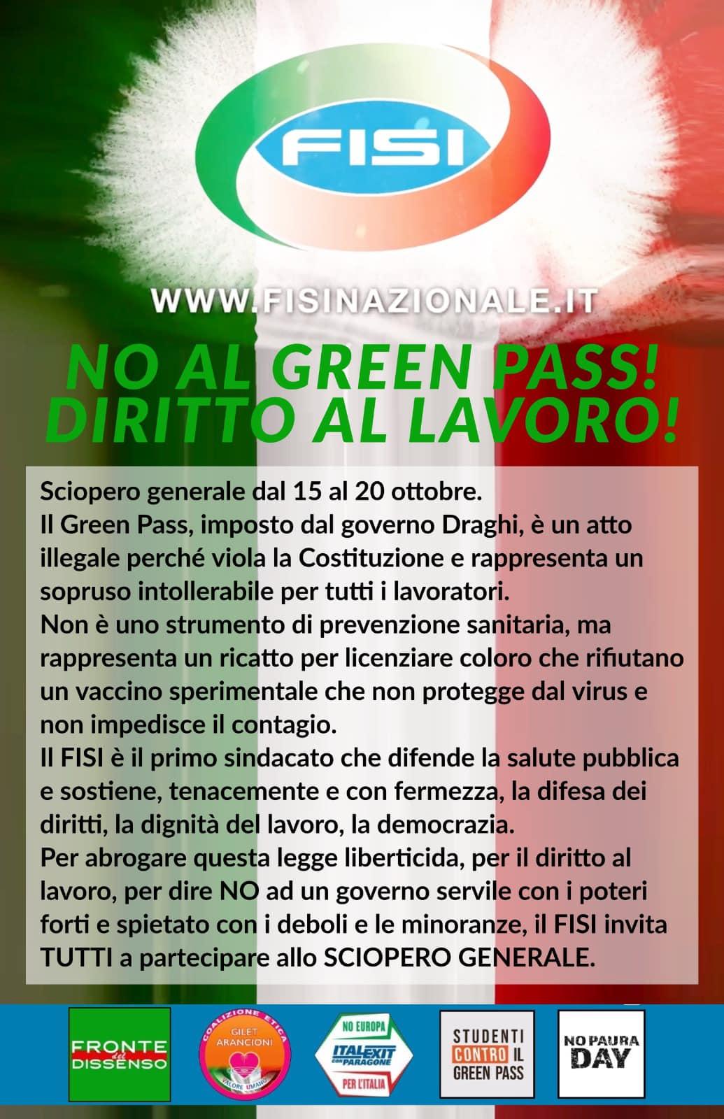 Maurizio Sarlo – Sciopero Generale/15/10/21 🇮🇹 ZTL Zoom del 12/11/21ore 21📍